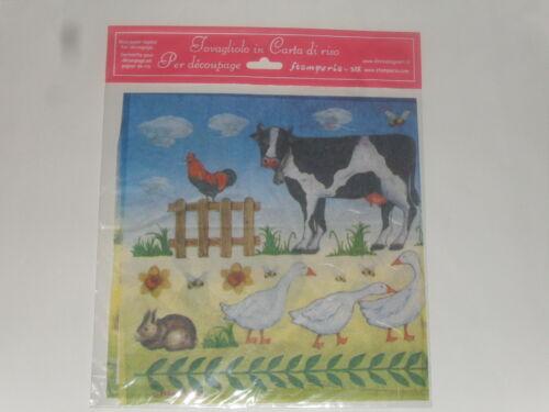 taille 49X49cm papier de riz Voile thème :animaux de la ferme