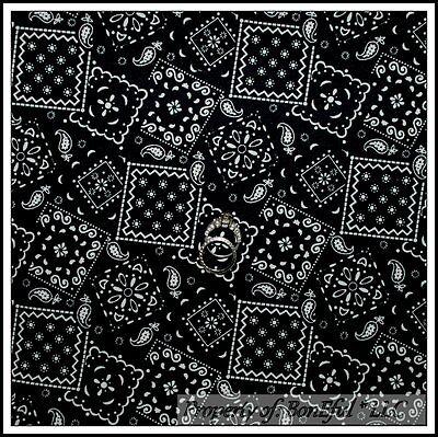 BonEful Fabric Cotton Quilt Black White B&W Bandanna Cow Boy Girl Paisley SCRAP