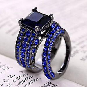 2PCS Unique Royal Blue Sapphire Black Gold Filled Rings Set Men ...