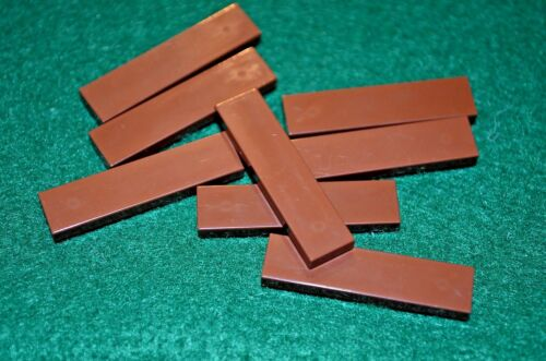 (8) BROWN 1x4 Smooth Finishing Tile Brick Bricks  ~ Lego  ~ NEW