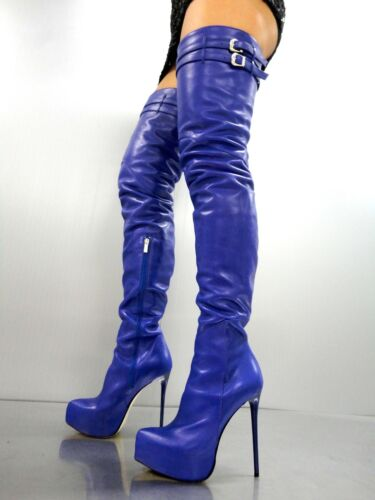 Leather Bleu Couture Overknee Bottes Stiefel Cq Platform Custom Boots 42 H4gwqO0