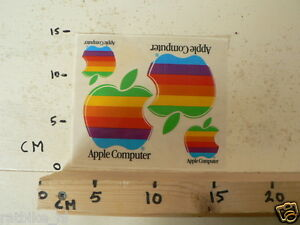 STICKER-DECAL-APPLE-COMPUTER-SHEET-WITH-4-STICKERS-VERY-RARE-VINTAGE