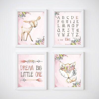 Woodland Animals Nursery Wall Decor Prints Fox Tee Tribal 7 Style Choices Ebay