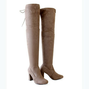 stretch suede 3 25 in covered thick heel the knee