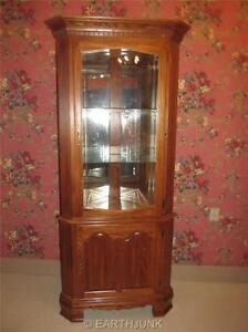 Image Is Loading Lighted Corner China Hutch Cabinet Tell City Chair