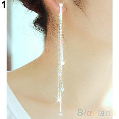 Women's Amazing Rhinestone Super Long Tassels Drop Dangle Party Linear Earrings