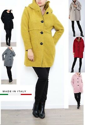 CAPPOTTO DONNA LUNGO lana misto nero rosso rosa giallo