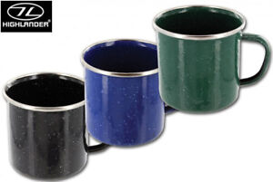 Highlander-Deluxe-Enamel-Camping-Mug-Stainless-Steel-Metal-Travel-Drinking-Cup