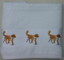 NOVA SCOTIA DUCK TOLLING RETRIEVER DOG LARGE HAND/GUEST TOWEL WATERCOLOUR PRINT