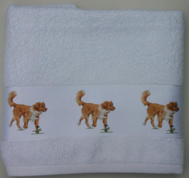 NOVA SCOTIA DUCK TOLLING RETRIEVER DOG LARGE HAND/GUEST TOWEL WATERCOLOUR PRINT