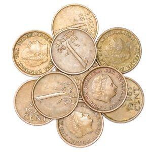 LOT-10-NETHERLANDS-COINS-1-CENT-5-GLUDEN-DUTCH-PRE-EURO-COINS-1950-2001