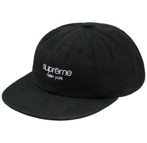 SUPREME Napped Canvas Classic Logo 6 Panel Black Navy Olive box logo camp F//W 18