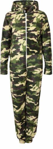 Unisex Mens Womens Hooded Zip-up Fleece Bodysuit Jumpsuit Various Prints