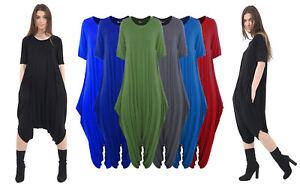 Women-Ladies-Short-Sleeve-Lagenlook-Baggy-Harem-Italian-Drape-Jumpsuit-Playsuit