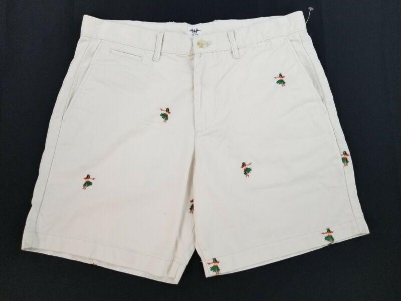 Nuovo Gap Uomo Pantaloncini Cotone 335131 Ricamato Bianco Crema Taglie 31 Msrp