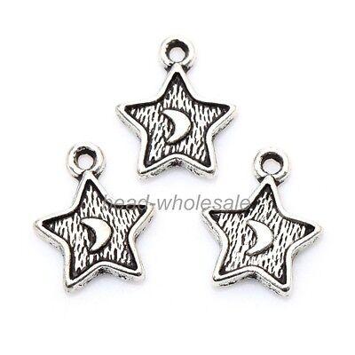 50 pcs/Lot Wholesale Moon Star Tibetan Silver Star Charms Pendants