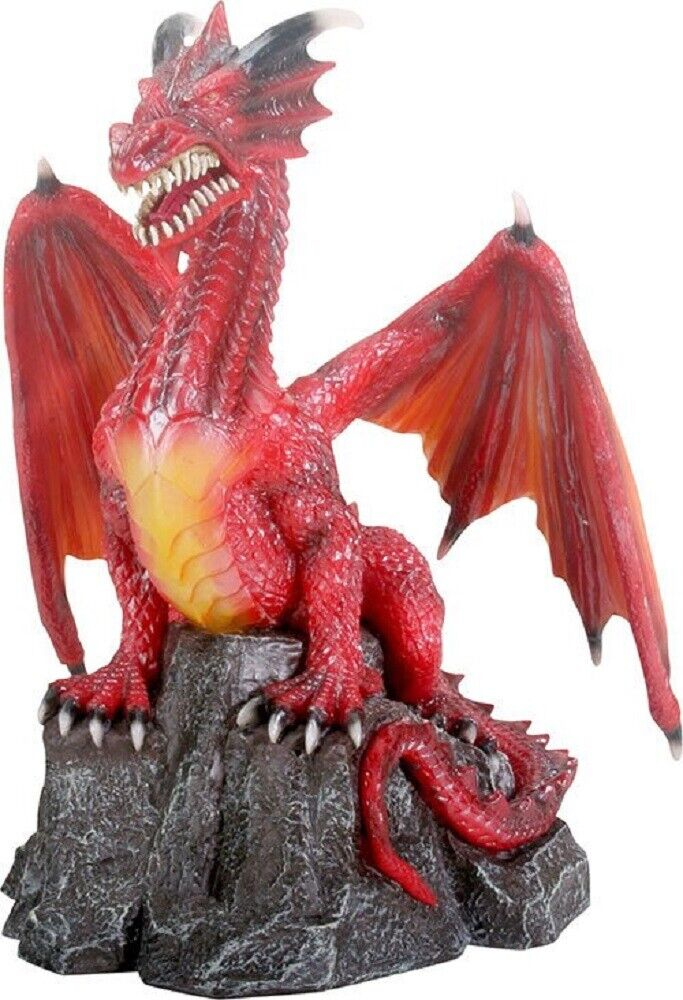 Red Dragon Standing On Rock Fantasy Statue Figurine Mythical Decoration For Sale Online Ebay