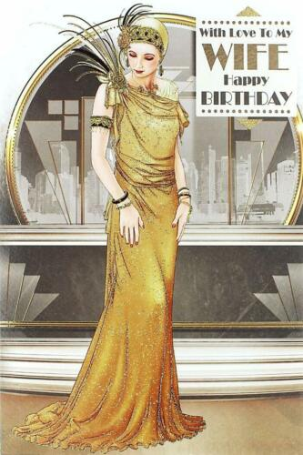 Wife Art Deco Lady Gold Dress Design Happy Birthday Quality Card Lovely Verse