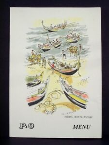 1958 P&O Menu SS HIMALAYA Fishing Boat Test Isle of Wine