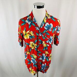 Vintage-Insel-Bild-Hawaii-Aloha-Regenbogen-Blumen-Rayon-Shirt-Herren-Grosse-L