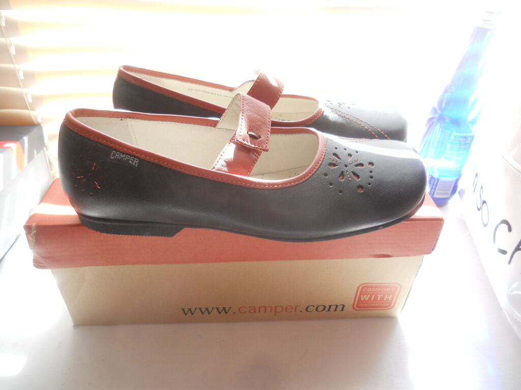 New Camper Spain  Art to Wear    marron Orange Mary Jane Oxford Flats  39 2a1f43