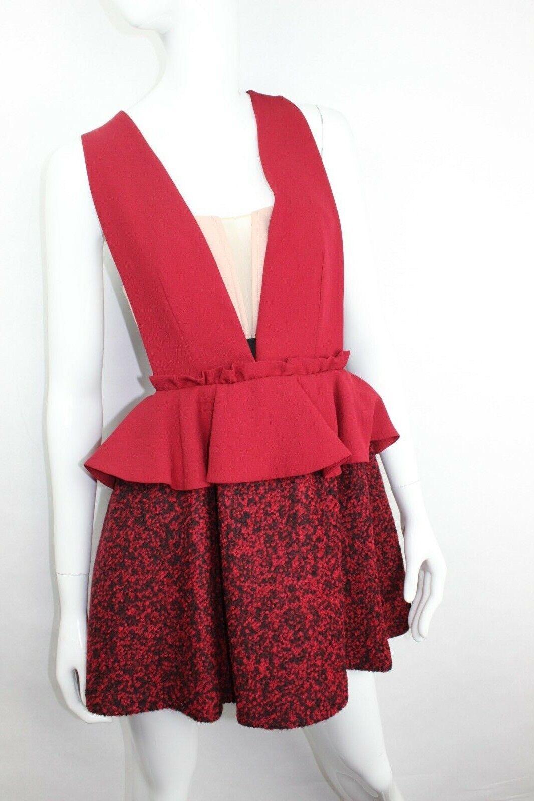 Nwt Drei Boden Damen Deep V Mini Kleid mit Tweed Rock Größe Rot 10