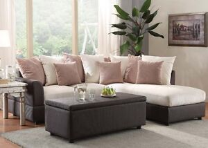 Modern Sectional Sofa Set Beige Fabric Plush Sofa & Chaise Living Room Furniture