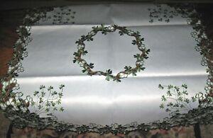 St-Patricks-Day-Decor-Tablecloth-Celtic-Irish-Shamrock-Embroider-Topper-34-034-x-34-034