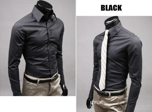 Black ★ Formal Button Down Bussiness Dress Shirts