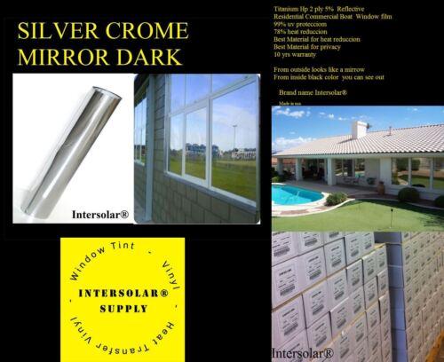 "24/""x100/' Home Window Tint Silver//Black Film Crome Mirror Stop Heat 2ply 05/% Dark"