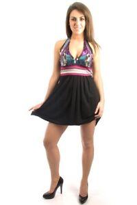 Parasuco-Black-Disco-Sequin-Multi-Colour-Halter-Top-Dress-8HALTER-156-CAD-NWT