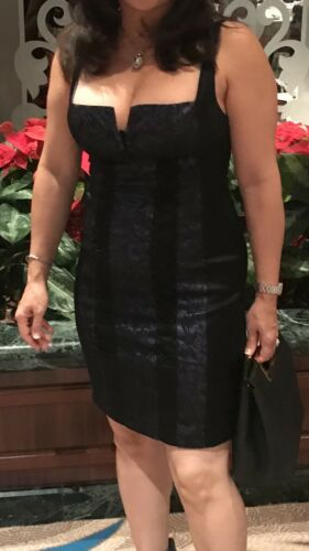 Bebe Corset Dress Lace Black Purple EUC  XXS
