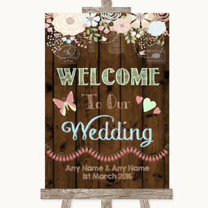 Floral Wooden Welcome to our Wedding Sign Poster