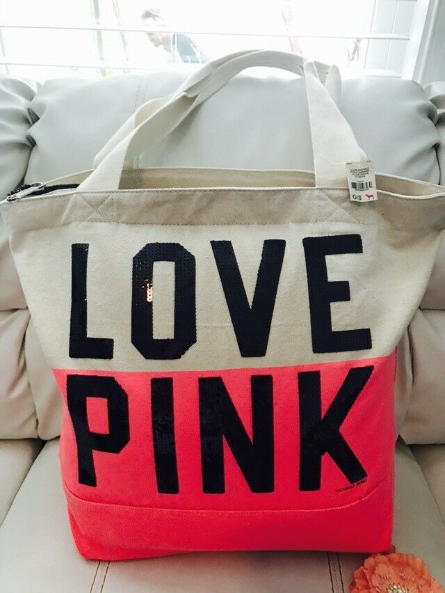 NWT Victoria Secret Bling TOTE Bag Black Glitter Love Pink Limited Edition