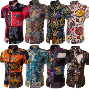 Fashion-Men-039-s-Summer-Casual-Dress-Shirt-Mens-Floral-Short-Sleeve-Shirts-Tops-Tee