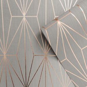 Details Sur Muriva Kayla Papier Peint Geometrique Metalique 703013 Gris Dore Rose