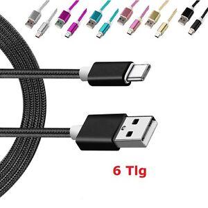 6-x-USB-Typ-C-Kabel-Ladekabel-Datenkabel-USB-C-Nylon-Basic-Samsung-S8-Sony