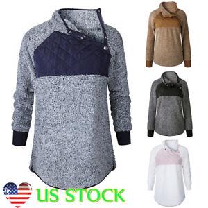 Women Long Sleeve Velvet Blouse Turtleneck Pullover Jumper Patchwork Tops Hoodie