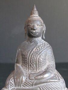Antique Buddha Of Cambodia Silver On Terracotta