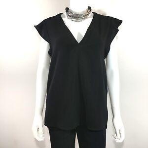 7f74b37d ZARA Woman [Size Medium] Black V-Neck Ruffle Cap Sleeve Loose Tunic ...