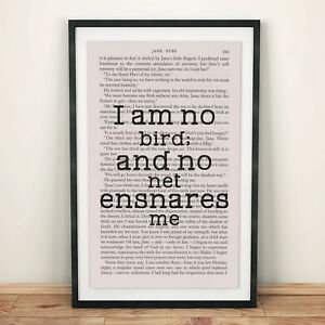 Jane Eyre Book Page Art I Am No Bird; And No Net Ensnares Me Print
