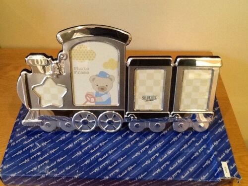 baby photo frame,silver plated,train,new rrp £19.99