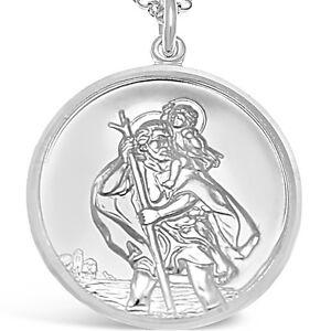 Large mens silver st saint christopher pendant chain necklace la imagen se est cargando grande para hombre plata st saint christopher colgante aloadofball Gallery