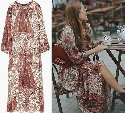 Zara Boho Hippie Vestito Maxi Paisley Tunica Fiori Stampa lungo Abito S M L   eBay