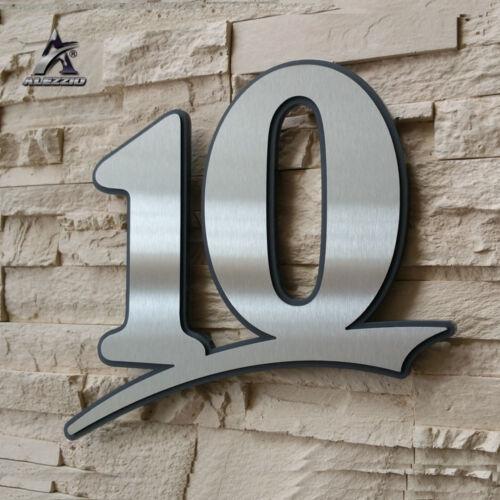 Edelstahl Hausnummer 10,17cm 21cm 31cm,123456789,a,b,c,d Acrylglas Anthrazitgrau