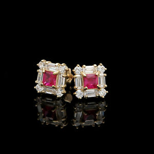 1CT-Princess-Ruby-Baguette-Round-Diamond-Earrings-Square-Stud-14K-Yellow-Gold