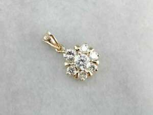 0-70-CT-Round-Diamond-Cluster-Layering-Pendant-18-034-Necklace-14k-Yellow-Gold-GP