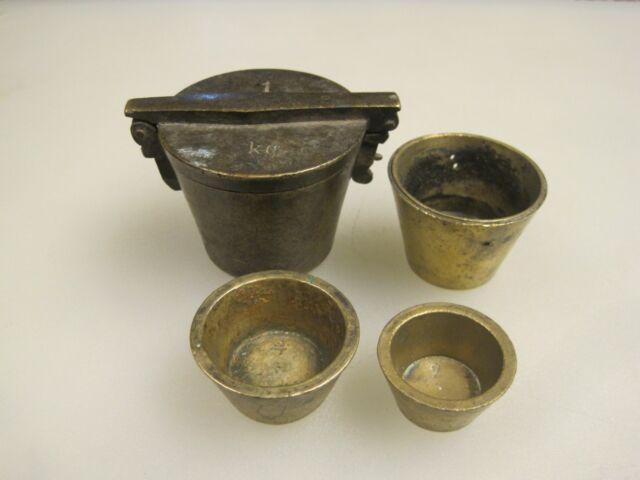 Antique 19th Century Brass 1 Kilogram Apothecary Nesting Weight Set B9977