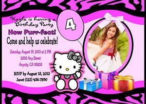 Details About Hello Kitty Custom Printable Birthday Party Invitation Free Thank You Card