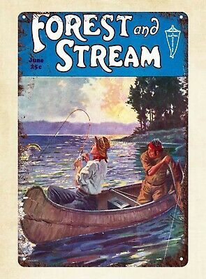 1939 Field and Stream Cover Fishing Marina Lake House Cabin metal tin sign wall